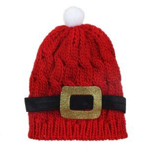 Knitted Santa Belt Bobble Hat