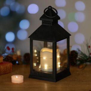 Black Flicker Candle Lantern
