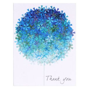 Set of 5 'Blue Flower' Thank You Notecards