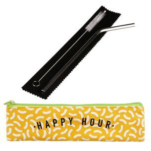 'Happy Hour' Metal Straw Set