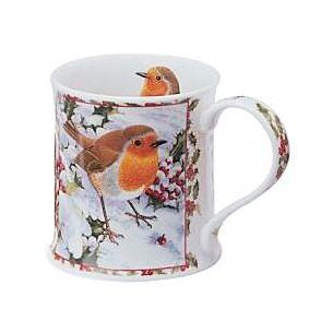 Dunoon Seasons Greetings Robin Wessex shape Mug