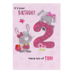 Pink 2nd Birthday Card
