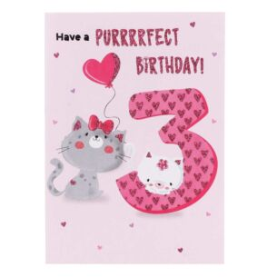 Pink 3rd Birthday Card