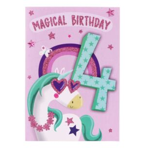 Unicorn 4th Birthday Card