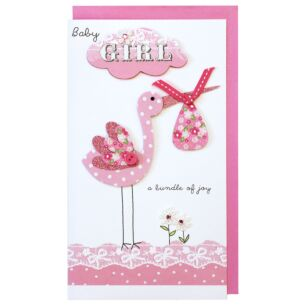 Second Nature Pink Stork 'Baby Girl' Card