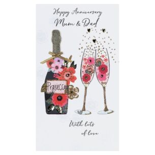 'Mum & Dad' Floral Flutes & Champagne Anniversary Card