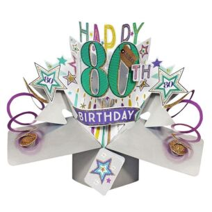 '80th Birthday' Pop Up Card