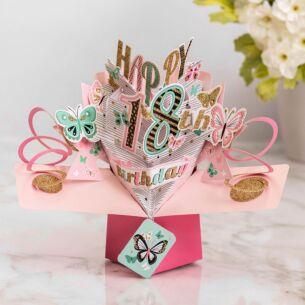 '18th Birthday' Butterflies 3D Pop Up Card