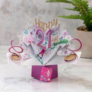 '21st Birthday' Bubbly 3D Pop Up Card
