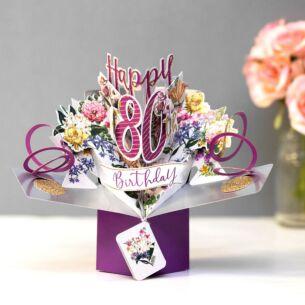 '80th Birthday' Flowers 3D Pop Up Card
