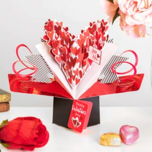 Second Nature 'Love You' Pop Up Hearts Valentines Card