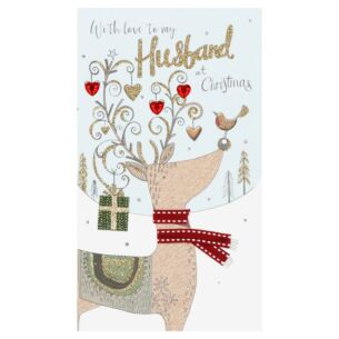 'My Husband' Reindeer Christmas Card