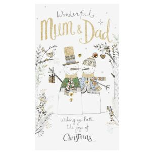 'Mum & Dad' Two Snowmen Christmas Card