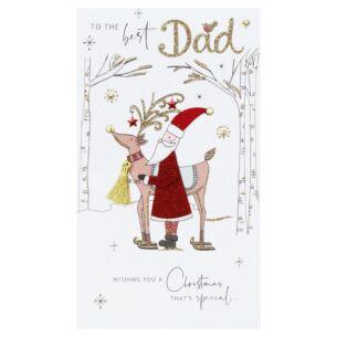 'Best Dad' Santa & Reindeer Christmas Card