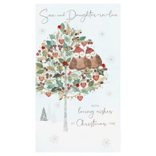 'Son & Daughter-In-Law' Two Owls Christmas Card