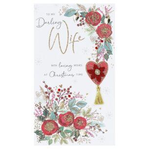 'Wife' Christmas Flowers Christmas Card