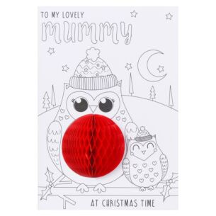 'Mummy' Two Owls Colour-Me-In Christmas Card