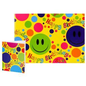 Simon Elvin Smiley Faces Birthday Gift Wrap