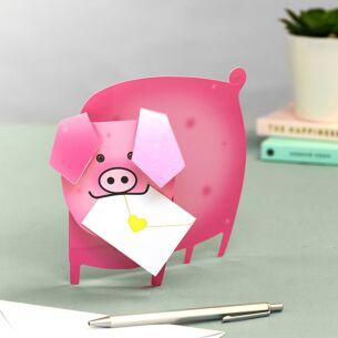 'Pink Piggy' 3D Greetings Card