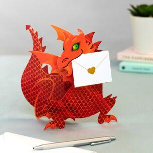 'Flame' Dragon 3D Greeting Card