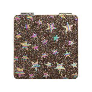 Rainbow Glitter Stars Personal Mirror