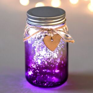 Pink & Silver LED Firefly Jar
