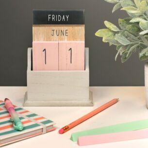 Pink & Grey Wooden Perpetual Calendar