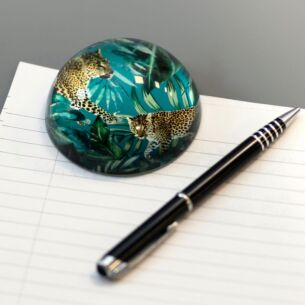 Glass Cheetah Dome Paperweight