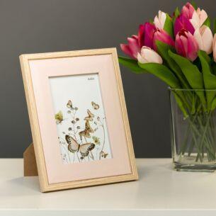 Light Wood & Pink Bevelled 4x6 Frame