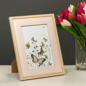 Light Wood & Pink Bevelled 5x7 Frame