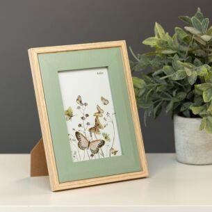 Light Wood & Olive Green Bevelled 4x6 Frame