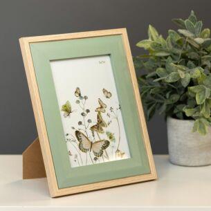 Temptation Light Wood & Olive Green Bevelled 5x7 Frame