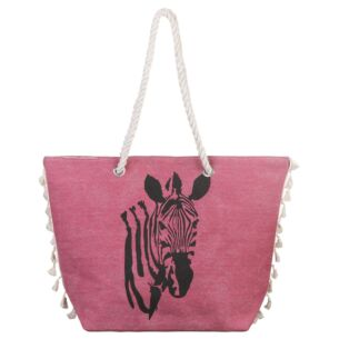 Pink Zebra Tasselled Beach Bag