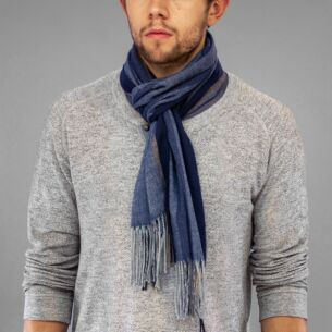 Blue Striped Boxed Men's Scarf