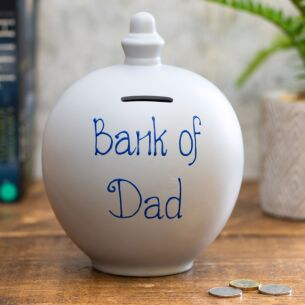'Bank of Dad' Blue on Grey Money Pot