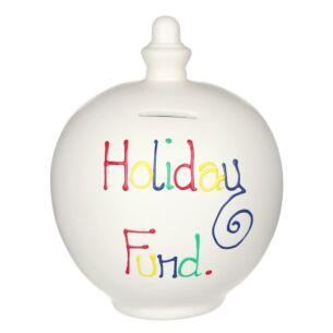 'Holiday Fund' Multi-Colour on Cream Money Pot