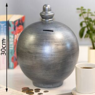 Extra Large Pearlescent Silver Money Pot
