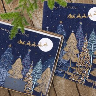Sleigh Over Forest Box of 8 Luxury Christmas Cards