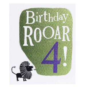 'Birthday Roar 4' Birthday Card
