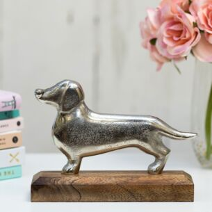 Silver Metal Dachshund on Wooden Base Decoration