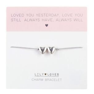 Lily Loves 'Always Have, Always Will' Double Heart Charm Bracelet
