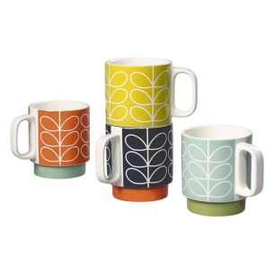 Orla Kiely Linear Stem Set of 4 Boxed Stacking Mugs