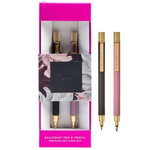 Dusky Pink & Grey Ballpoint Pen & Pencil Set