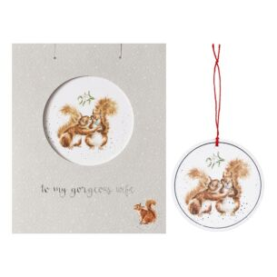 'Gorgeous Wife' Christmas Card with Tree Decoration