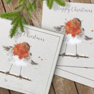 'Christmas Robin' Set of 8 Luxury Boxed Christmas Cards