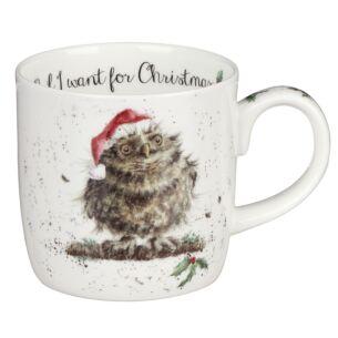'Owl I Want For Christmas' Owl Mug From Royal Worcester