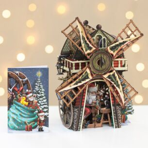 Santa's Windmill 3D Christmas Card
