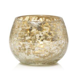 Kensington Mercury Crackle Glass Round Votive Holder
