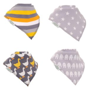 Stylish Greys Unboxed Bibs - 4 Pack