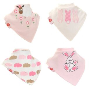 Pink Animals Unboxed Bandana Bibs – 4 Pack